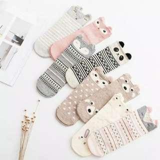 [ READY STOCK ] Cute Socks / Kaos Kaki Lucu / Kaos Kaki Pendek / Animal Socks
