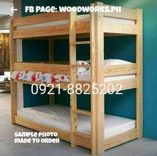 Wooden Triple Deck 36/36/36 x 75