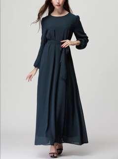 Jubah chiffon maxi dress long sleeve navy blue