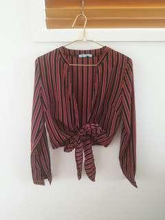 New Mint Vanilla Top Size 6 Blouse Node Stripes Dissh