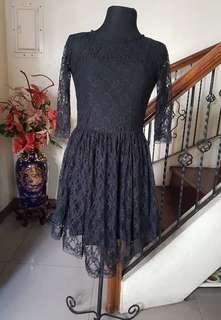 Black Lace 2-pc Short Dress