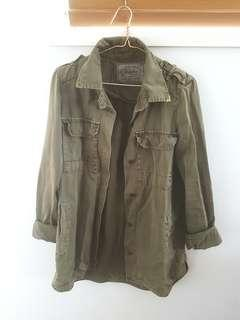 Zara Jacket Coat Size S Military Khaki Like New Trafaluc Destroyed