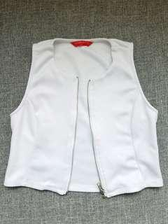 *SALE*Penshoppe White Crop Top with zipper