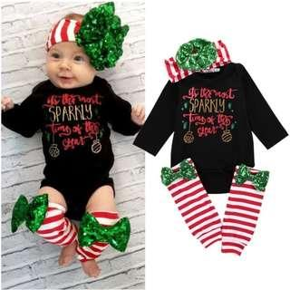 Baby Christmas Romper/Jumpsuit/Bodysuit with Legwarmer and head band