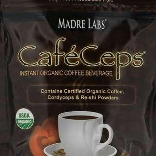 Madre Labs, CafeCeps, Certified Organic Instant Coffee with Cordyceps and Reishi Mushroom Powder, 3.52 oz (100 g)