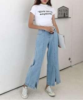 Denim pants with Front Slit