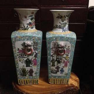 浮雕粉彩畫古董花瓶(含運中)