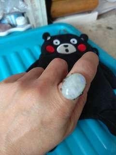 925純銀大大粒月亮石戒指
