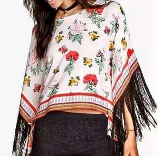 H&M Coachella Floral Tunic Top With Fringe