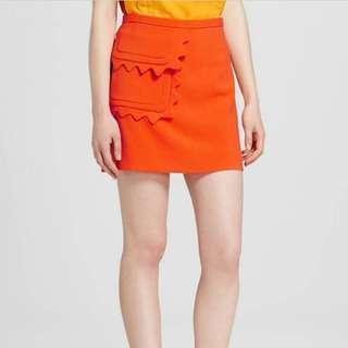 全新 Victoria Beckham for Target orange scallop pocket skirt 半腰裙