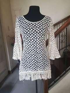 Off White Short Dress Cover Up