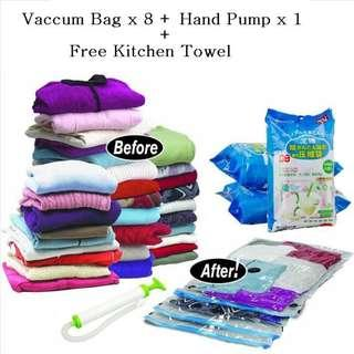 10 In 1 Vacuum Storage Compressed Resealable Bag Travel w/ Hand Pump + Kitchen Towel