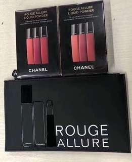 Chanel rouge allure liquid powder set (#950,956,958) 唇膏三支連化妝袋