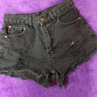 Thai High Waist Tattered Black Shorts