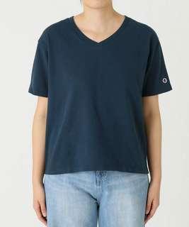 Champion x SLOBE IENA Women's V-neck T-shirt 18SS CWSM306, Navy, M (Tee/Kaos, Biru Dongker, Kerah V)