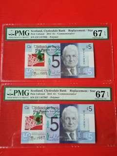 Scotland    Bank pick unlisted  £5 replacement STAR banknotes almost consecutive ,1 jump.But both PMG graded 67 EPQ scarce