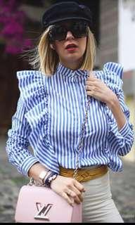 Blue Stripe Ruffle Blouse