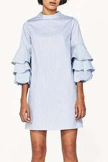 Stripe Ruffle Sleeve Dress