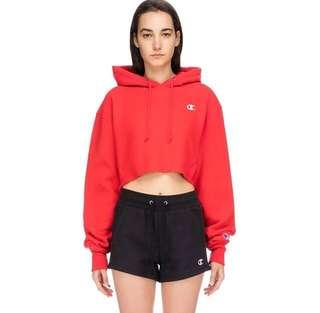 Champion Weave Cropped Cut Off C Logo Hoodie - Red Scarlet