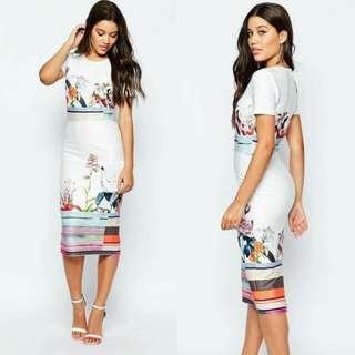 🍃White Floral Air Cotton Office Dress