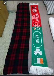曼聯&愛爾蘭友誼賽頸巾及黑紅格仔頸巾(兩條只需$70)