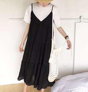 🚚 ❣️全新❣️網美爆款。黑色雪紡蛋糕裙。背心裙。吊帶裙 。肩帶可調👍🏻