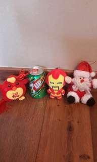 掛飾公仔 三隻 聖誕老人 鋼鐵奇俠 福雞