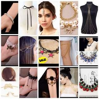 Women's Accessories $1 sales!! Earring, bracelet, anklet, armlet, body chain and many more!