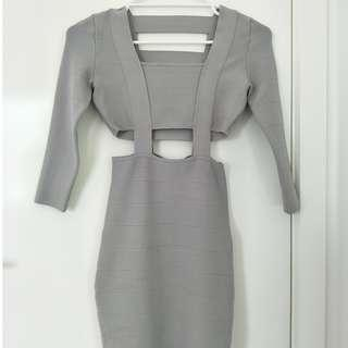 BRAND NEW Guess 3/4 sleeve grey designer cage dress