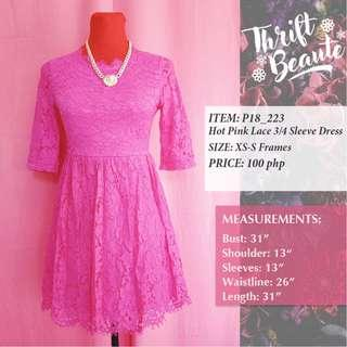 Hot Pink Lace 3/4 Sleeve Dress