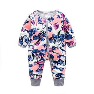 🚚 🌟INSTOCK🌟 Purple Pink Flowers Grey Zipper Sleeping Romper Pants Overall Onesie for Newborn Baby Toddler Girls and Boys Wondersuit Kids Children Clothes