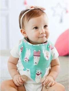 🚚 🌟INSTOCK🌟 Korean Mint Green Tiffany Polar Bear Reversible Drool Baby Bibs for Baby Girl & Boy Children Kids Feeding Essential