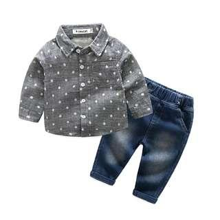 🚚 🌟INSTOCK🌟 2pc Polkadot Grey Shirt Sleeves Top with Jeans Pants Set for Newborn Baby Toddler Boys Casual Smart Children Clothes