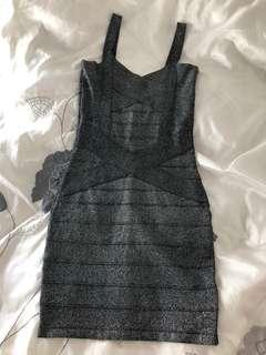 Silver Sequin Party Cocktail Dress