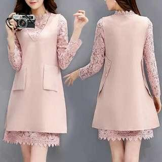 🍃Lace 2in1 Office Corporate Pink Dress Corrdinates