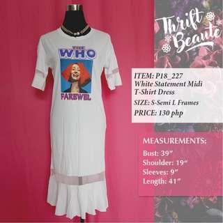 White Statement Midi T-Shirt Dress
