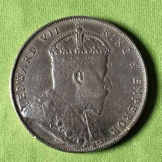 1907 Straits Settlements $1 Silver Coin