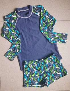 Blue Long Sleeves Rash Guard with sharks design