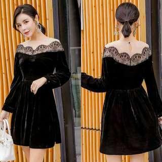 🍃Black Velvet Lace Elegant Dress