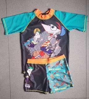 Phineas and Ferb Short Sleeves Rash Guard