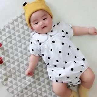 🚚 🌟INSTOCK🌟 Collar White Polka Cotton Romper Pants Overall Onesie for Baby Toddler Girls Casual Kids Children Clothes