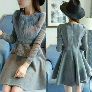 🍃Fur Knitted Long Sleeved Ash Blue Dress