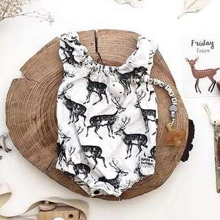 🚚 🌟INSTOCK🌟 Stretchy Collar Deer Print White Romper Overall Onesie for Baby Toddler Girls Casual Kids Children Clothes