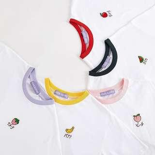 🔥[FAST PO] Korean Ulzzang Fruits Colours Prints Embroidery Collar Shirt TOP