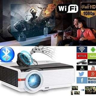 """CAIWEI HD Projector 5000 Lumens Android WiFi Multimedia Home Theater High Definition Digital 1280X800 HD Support 1080p 16:9 4:3 200"""" Wide Screen HDMI for Movie Game Console Sports Ipad Macbook Airpaly Mirroring Wireless Mouse Keyboard"""