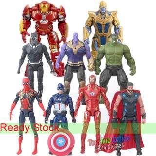 9 Pcs Avengers Hulk Thanos Thor  Spiderman Ironman PVC Figure