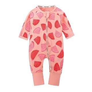 🚚 🌟INSTOCK🌟 Peach Pink Watermelon Print Zip Sleeping Romper Pants Overall Jumper Wondersuit for Baby Toddler Girls Casual Kids Children Clothes