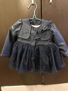 韓版深藍色仿皮褸 或可作短裙