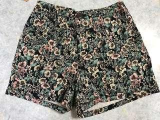 日本品牌 碎花 黑色 高腰 短褲 jeans