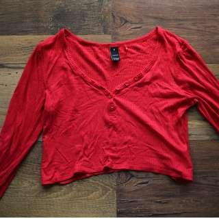 Red Button Up Ribbed Top